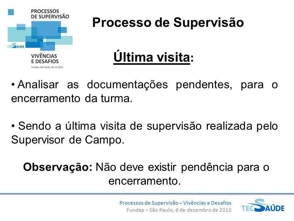 Processos de Supervisão – Vivências e Desafios Fundap – São Paulo, 6 de dezembro de 2010 Analisar as documentações pendentes, para o encerramento da turma.