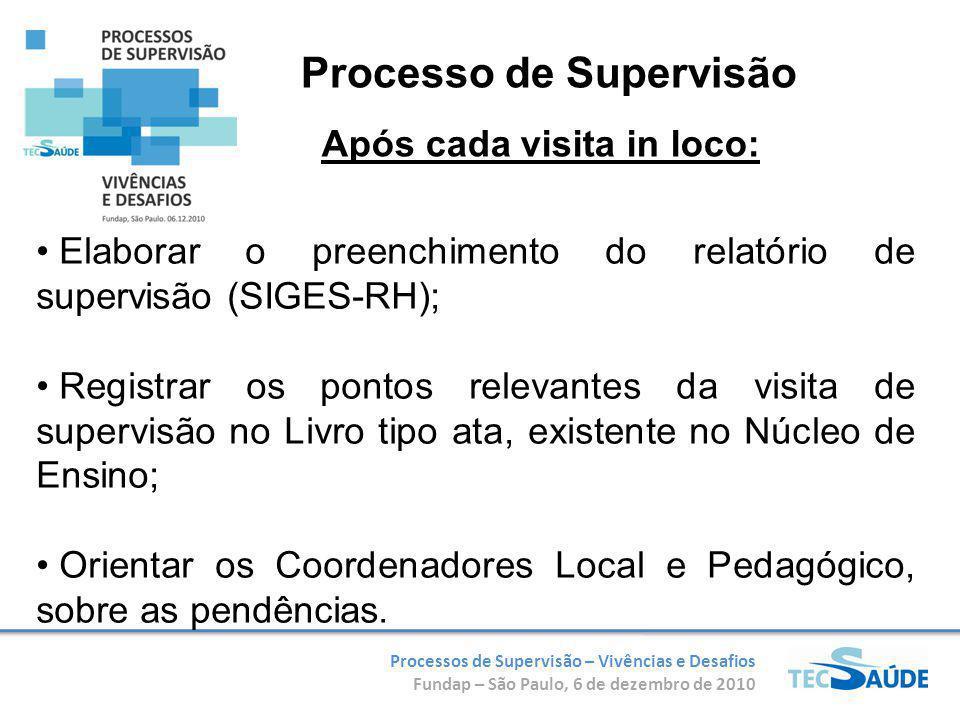 Processos de Supervisão – Vivências e Desafios Fundap – São Paulo, 6 de dezembro de 2010 Elaborar o preenchimento do relatório de supervisão (SIGES-RH