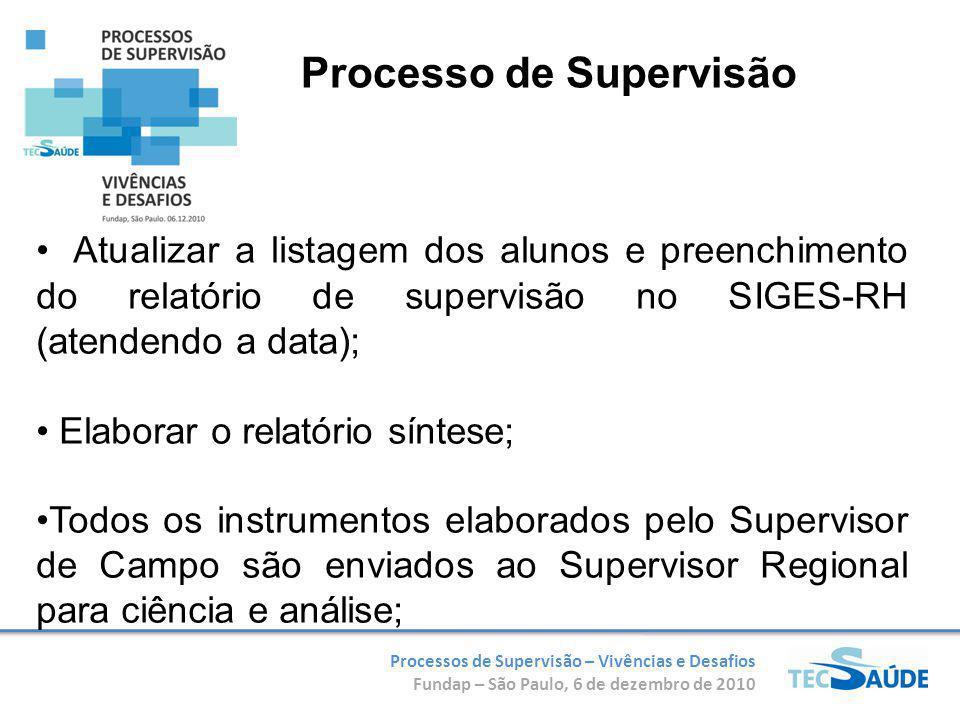 Processos de Supervisão – Vivências e Desafios Fundap – São Paulo, 6 de dezembro de 2010 Atualizar a listagem dos alunos e preenchimento do relatório de supervisão no SIGES-RH (atendendo a data); Elaborar o relatório síntese; Todos os instrumentos elaborados pelo Supervisor de Campo são enviados ao Supervisor Regional para ciência e análise; Processo de Supervisão
