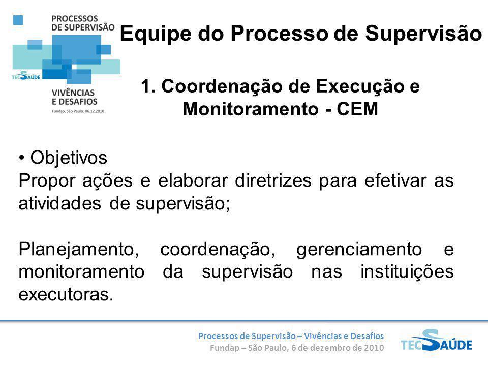 Processos de Supervisão – Vivências e Desafios Fundap – São Paulo, 6 de dezembro de 2010 1. Coordenação de Execução e Monitoramento - CEM Objetivos Pr