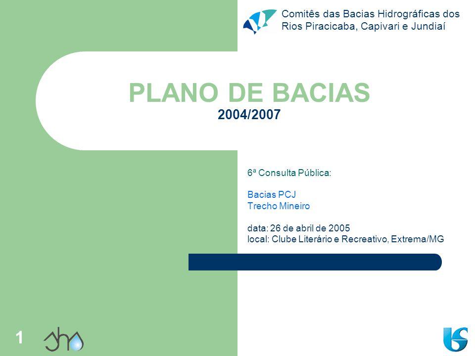 Comitês das Bacias Hidrográficas dos Rios Piracicaba, Capivari e Jundiaí 1 PLANO DE BACIAS 2004/2007 6ª Consulta Pública: Bacias PCJ Trecho Mineiro da