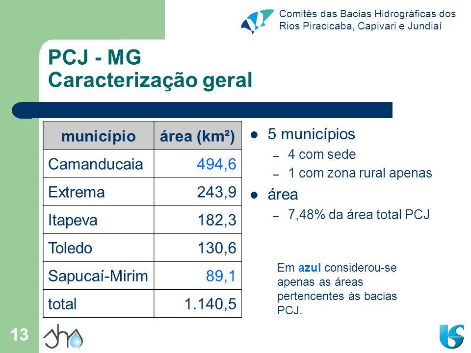 Comitês das Bacias Hidrográficas dos Rios Piracicaba, Capivari e Jundiaí 13 PCJ - MG Caracterização geral municípioárea (km²) Camanducaia494,6 Extrema