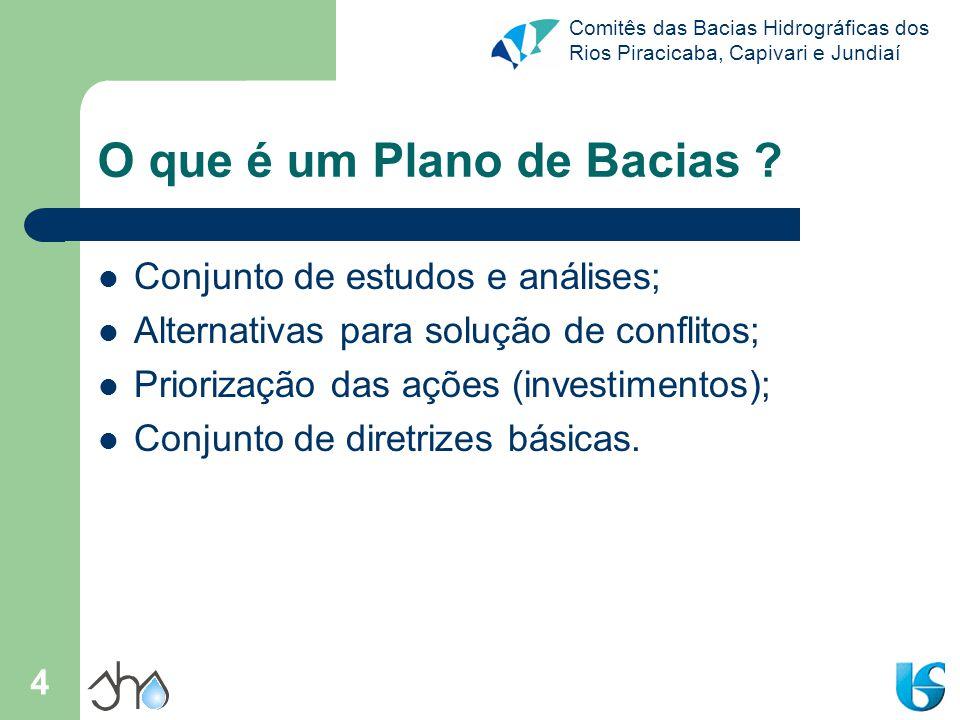 Comitês das Bacias Hidrográficas dos Rios Piracicaba, Capivari e Jundiaí 4 O que é um Plano de Bacias ? Conjunto de estudos e análises; Alternativas p