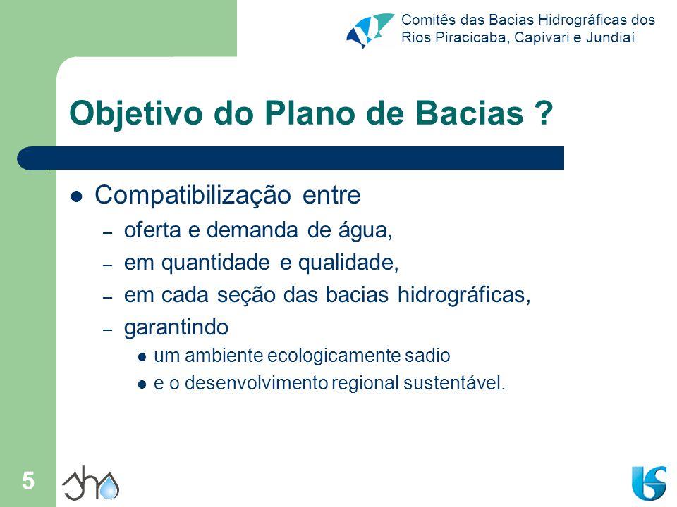 Comitês das Bacias Hidrográficas dos Rios Piracicaba, Capivari e Jundiaí 5 Objetivo do Plano de Bacias ? Compatibilização entre – oferta e demanda de