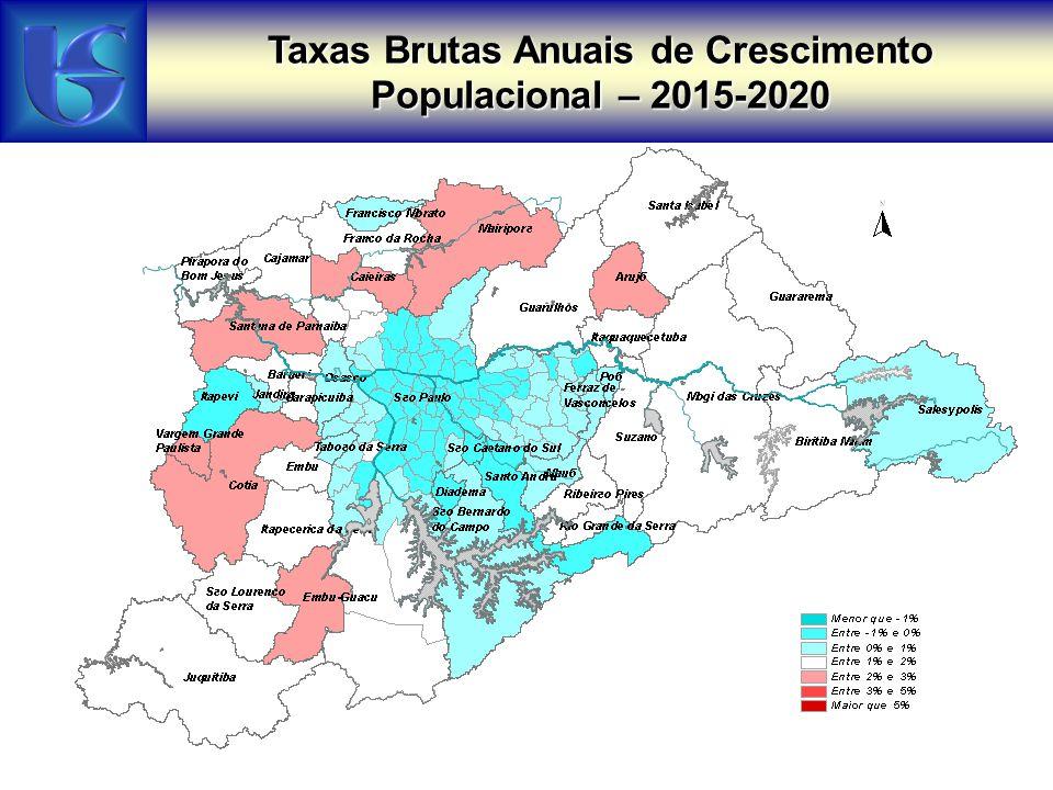 Taxas Brutas Anuais de Crescimento Populacional – 2015-2020