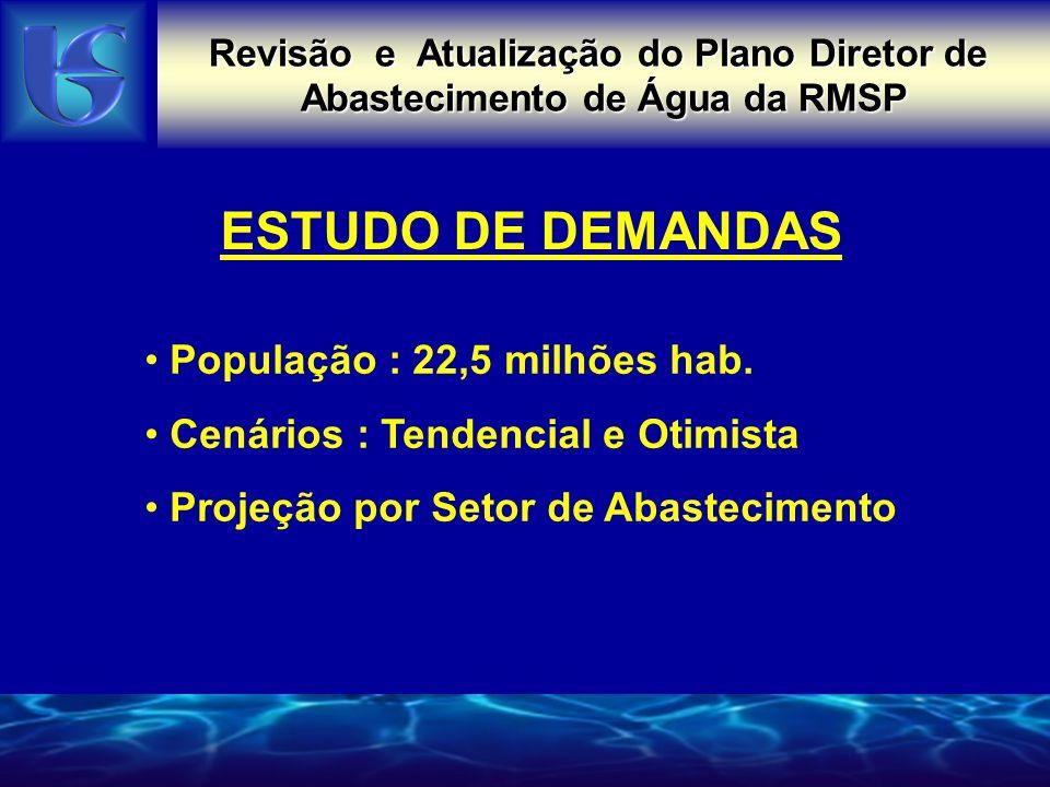 Revisão e Atualização do Plano Diretor de Abastecimento de Água da RMSP ESTUDO DE DEMANDAS População : 22,5 milhões hab.