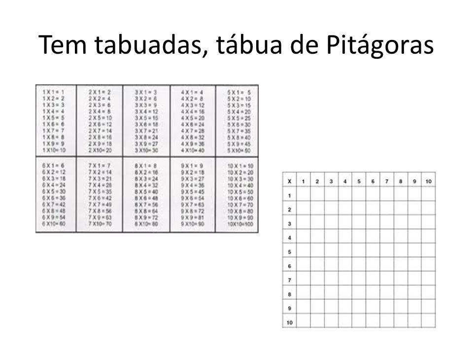 Tem tabuadas, tábua de Pitágoras