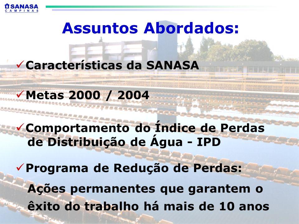Assuntos Abordados: Características da SANASA Comportamento do Índice de Perdas de Distribuição de Água - IPD Programa de Redução de Perdas: Ações permanentes que garantem o êxito do trabalho há mais de 10 anos Metas 2000 / 2004