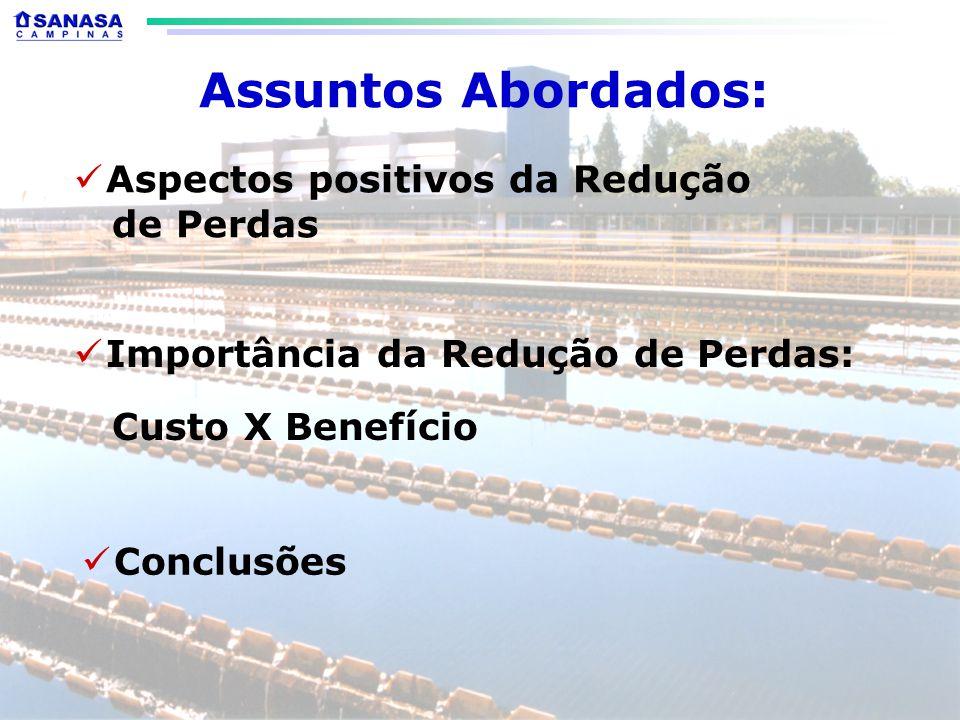 Assuntos Abordados: Aspectos positivos da Redução de Perdas Conclusões Importância da Redução de Perdas: Custo X Benefício