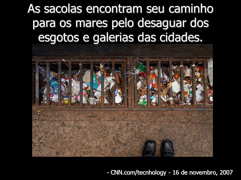As sacolas encontram seu caminho para os mares pelo desaguar dos esgotos e galerias das cidades. - CNN.com/tecnhology - 16 de novembro, 2007