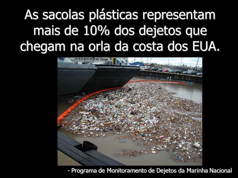 As sacolas plásticas representam mais de 10% dos dejetos que chegam na orla da costa dos EUA. - Programa de Monitoramento de Dejetos da Marinha Nacion