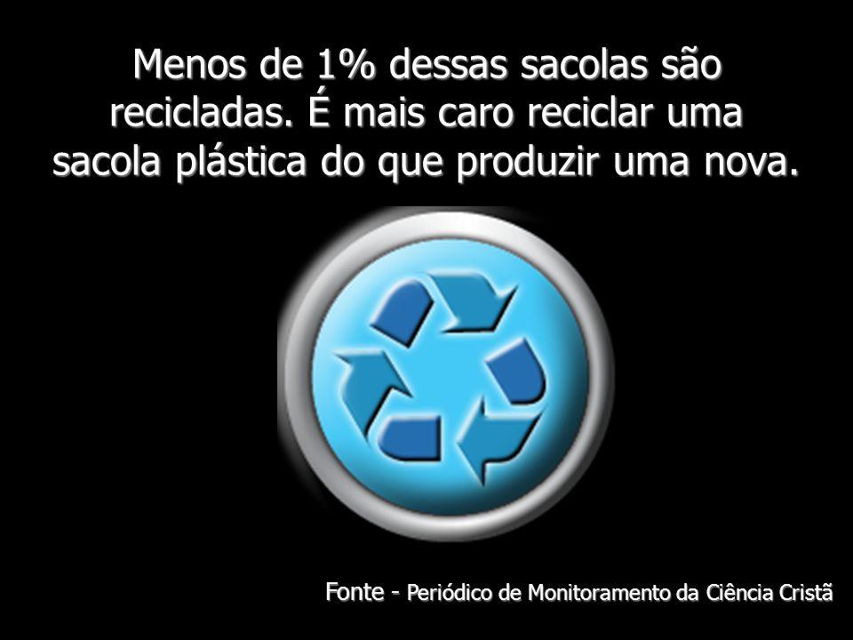 Menos de 1% dessas sacolas são recicladas. É mais caro reciclar uma sacola plástica do que produzir uma nova. Fonte - Periódico de Monitoramento da Ci