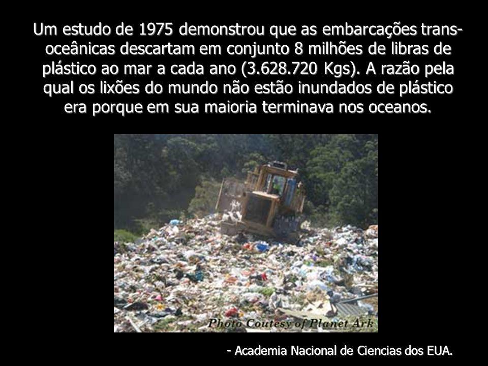 Um estudo de 1975 demonstrou que as embarcações trans- oceânicas descartam em conjunto 8 milhões de libras de plástico ao mar a cada ano (3.628.720 Kg