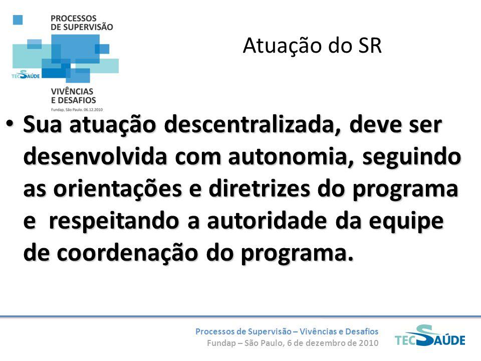Processos de Supervisão – Vivências e Desafios Fundap – São Paulo, 6 de dezembro de 2010 Atuação do SR Sua atuação descentralizada, deve ser desenvolvida com autonomia, seguindo as orientações e diretrizes do programa e respeitando a autoridade da equipe de coordenação do programa.