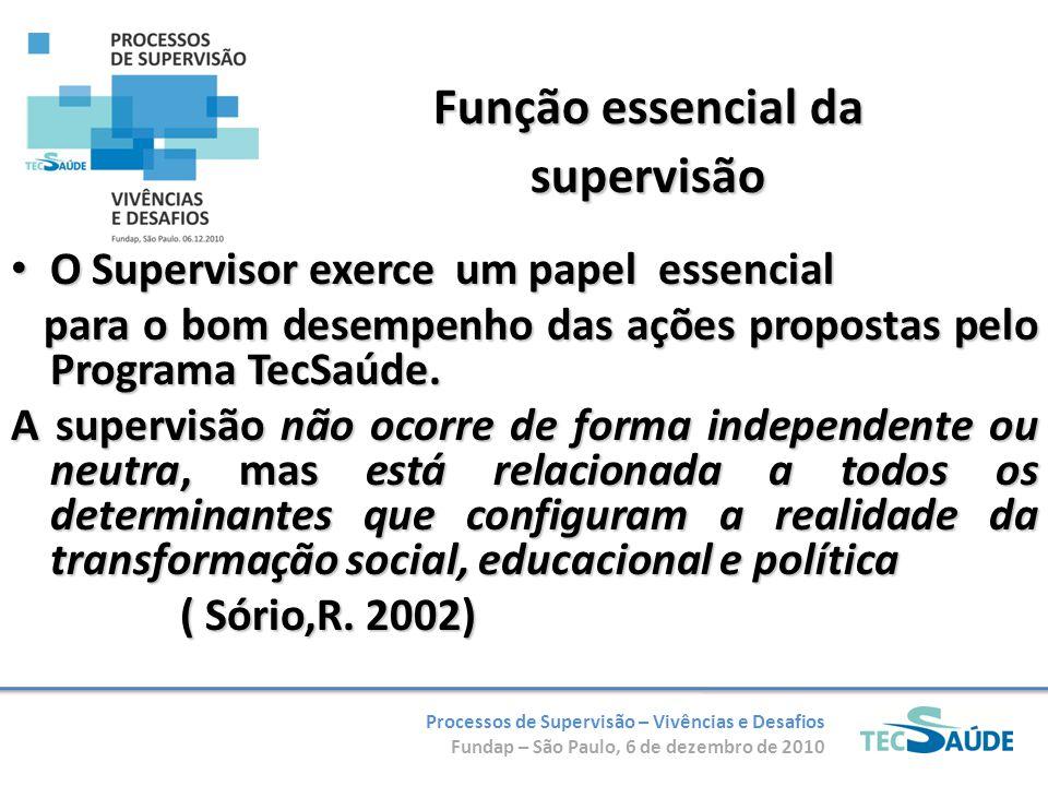 Processos de Supervisão – Vivências e Desafios Fundap – São Paulo, 6 de dezembro de 2010 Função essencial da supervisão O Supervisor exerce um papel e