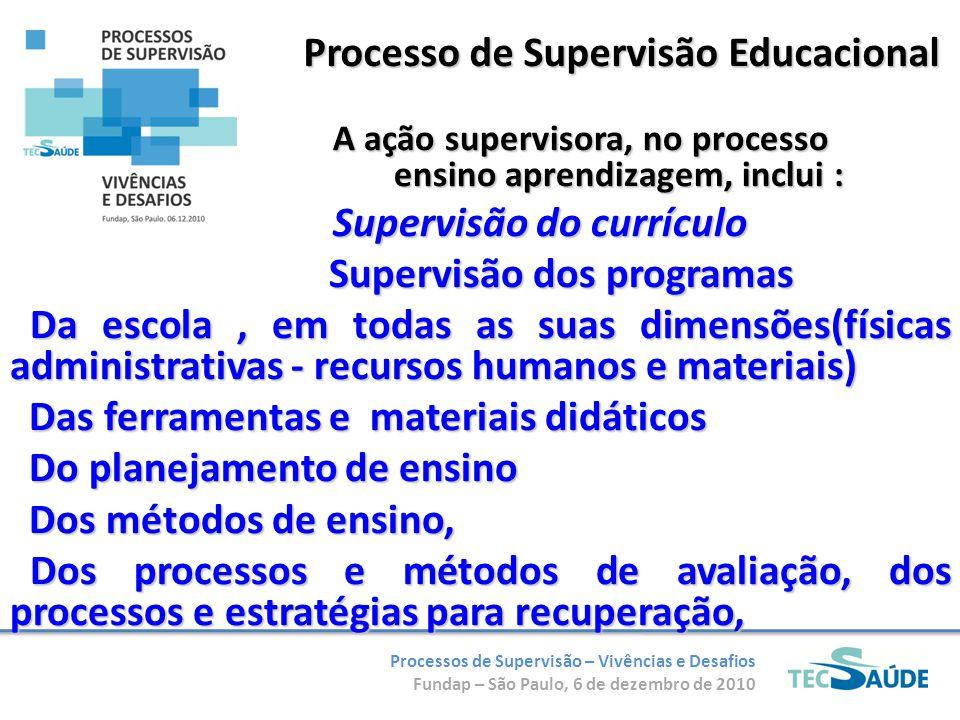 Processos de Supervisão – Vivências e Desafios Fundap – São Paulo, 6 de dezembro de 2010 Processo de Supervisão Educacional A ação supervisora, no pro