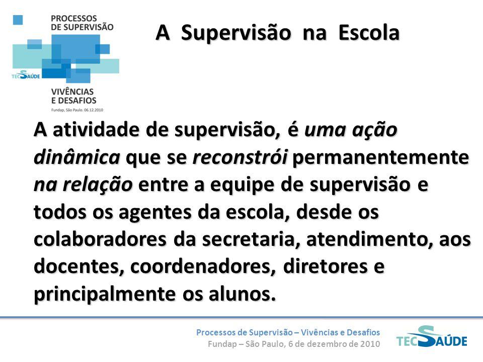 Processos de Supervisão – Vivências e Desafios Fundap – São Paulo, 6 de dezembro de 2010 A Supervisão na Escola A atividade de supervisão, é uma ação