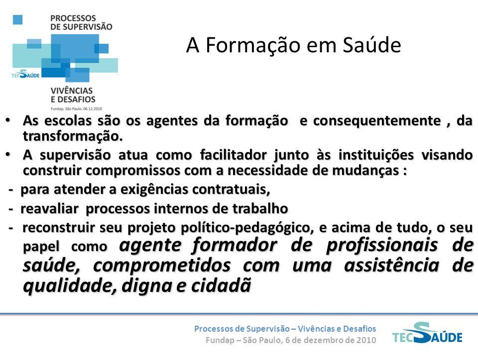 Processos de Supervisão – Vivências e Desafios Fundap – São Paulo, 6 de dezembro de 2010 A Formação em Saúde As escolas são os agentes da formação e c