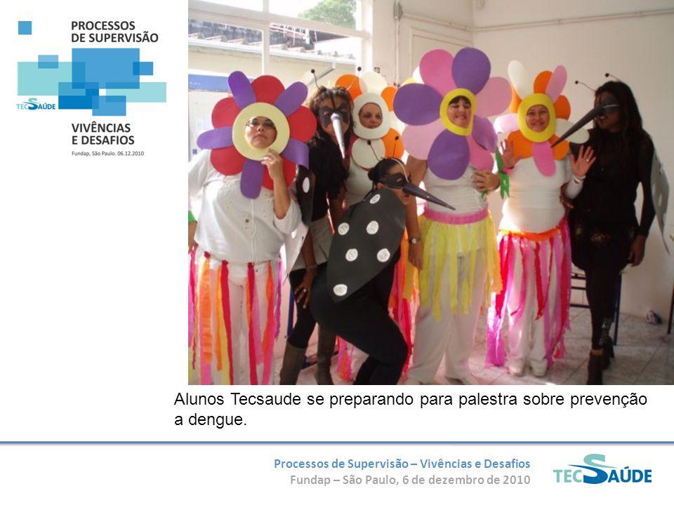 Processos de Supervisão – Vivências e Desafios Fundap – São Paulo, 6 de dezembro de 2010 Alunos Tecsaude se preparando para palestra sobre prevenção a dengue.