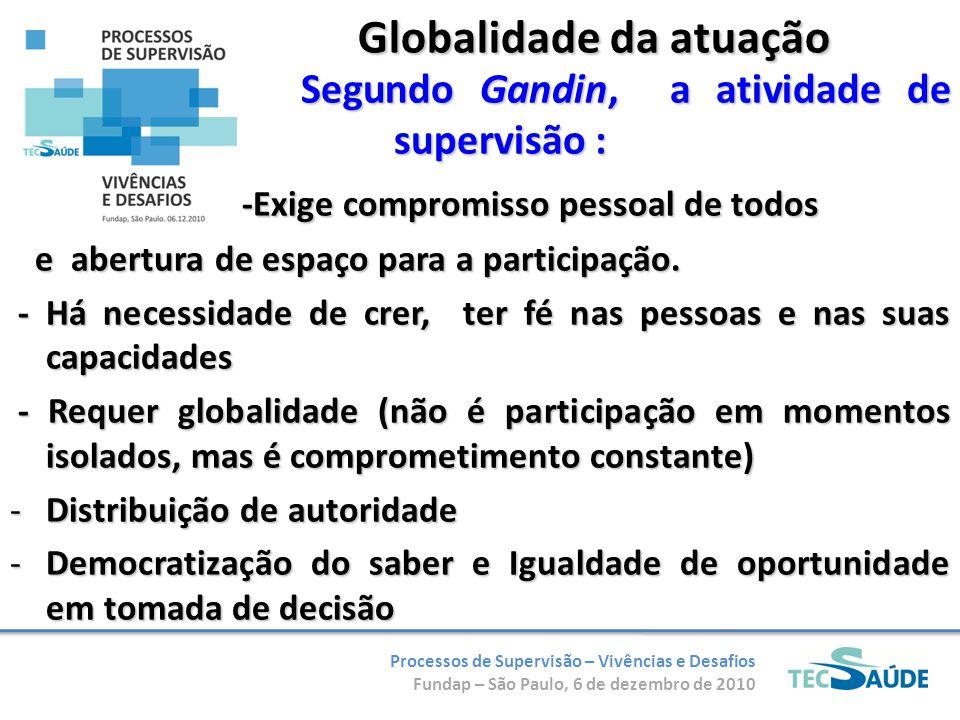 Processos de Supervisão – Vivências e Desafios Fundap – São Paulo, 6 de dezembro de 2010 Globalidade da atuação Segundo Gandin, a atividade de supervi