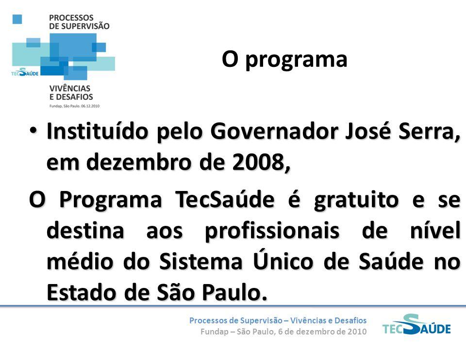 Processos de Supervisão – Vivências e Desafios Fundap – São Paulo, 6 de dezembro de 2010 O programa Instituído pelo Governador José Serra, em dezembro de 2008, Instituído pelo Governador José Serra, em dezembro de 2008, O Programa TecSaúde é gratuito e se destina aos profissionais de nível médio do Sistema Único de Saúde no Estado de São Paulo.