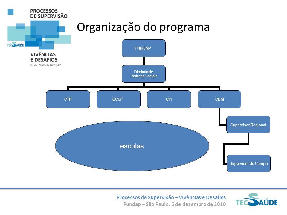 Processos de Supervisão – Vivências e Desafios Fundap – São Paulo, 6 de dezembro de 2010 Organização do programa escolas