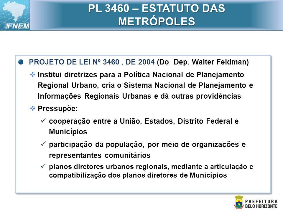 PROJETO DE LEI Nº 3460, DE 2004 (Do Dep. Walter Feldman) Institui diretrizes para a Política Nacional de Planejamento Regional Urbano, cria o Sistema