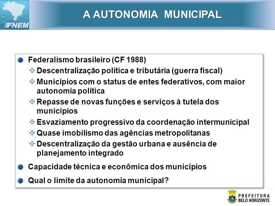 Federalismo brasileiro (CF 1988) Descentralização política e tributária (guerra fiscal) Municípios com o status de entes federativos, com maior autono