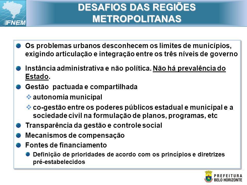 Os problemas urbanos desconhecem os limites de municípios, exigindo articulação e integração entre os três níveis de governo Instância administrativa
