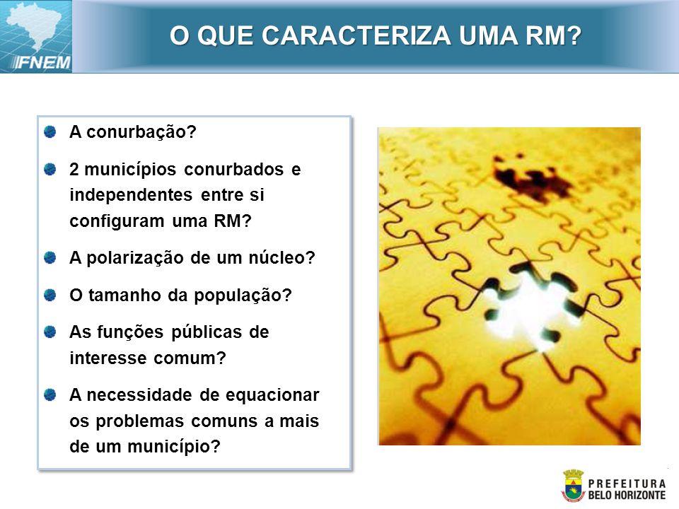 Faltam critérios para a constituição de RMs Falta gestão metropolitana na maioria das RMs.
