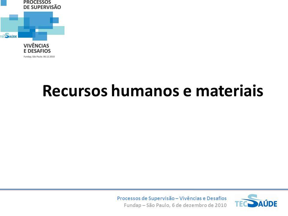 Processos de Supervisão – Vivências e Desafios Fundap – São Paulo, 6 de dezembro de 2010 Recursos humanos e materiais