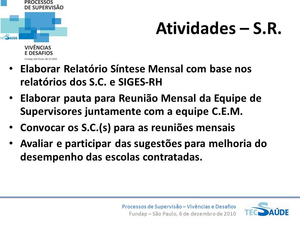 Processos de Supervisão – Vivências e Desafios Fundap – São Paulo, 6 de dezembro de 2010 Elaborar Relatório Síntese Mensal com base nos relatórios dos