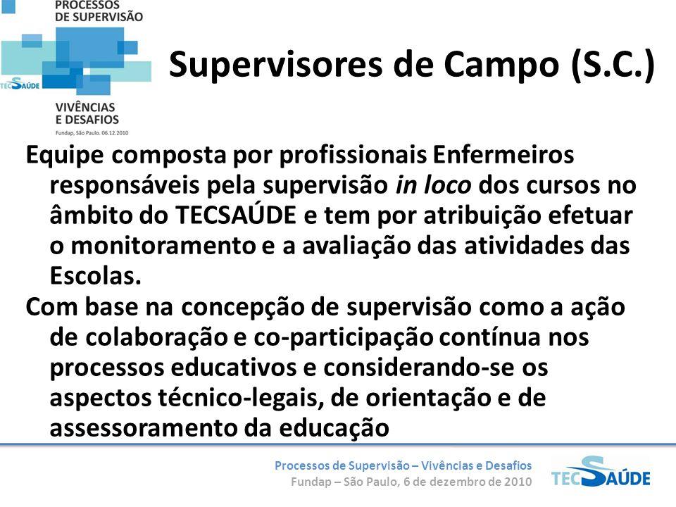 Processos de Supervisão – Vivências e Desafios Fundap – São Paulo, 6 de dezembro de 2010 Supervisores de Campo (S.C.) Equipe composta por profissionai