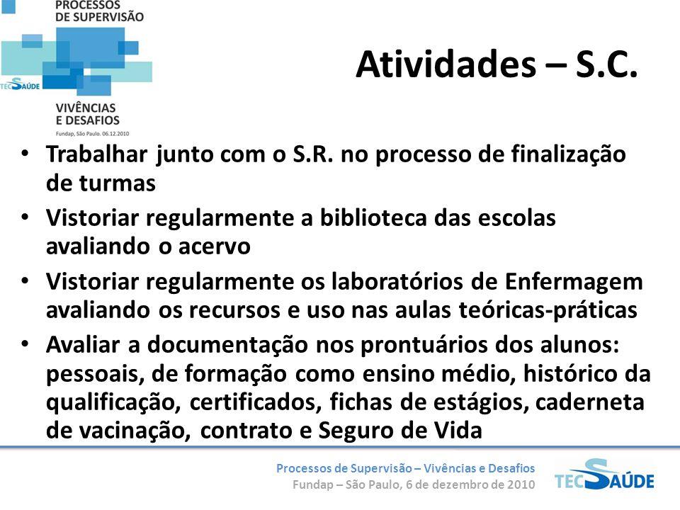 Processos de Supervisão – Vivências e Desafios Fundap – São Paulo, 6 de dezembro de 2010 Trabalhar junto com o S.R. no processo de finalização de turm