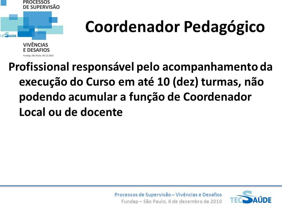 Processos de Supervisão – Vivências e Desafios Fundap – São Paulo, 6 de dezembro de 2010 Coordenador Pedagógico Profissional responsável pelo acompanh