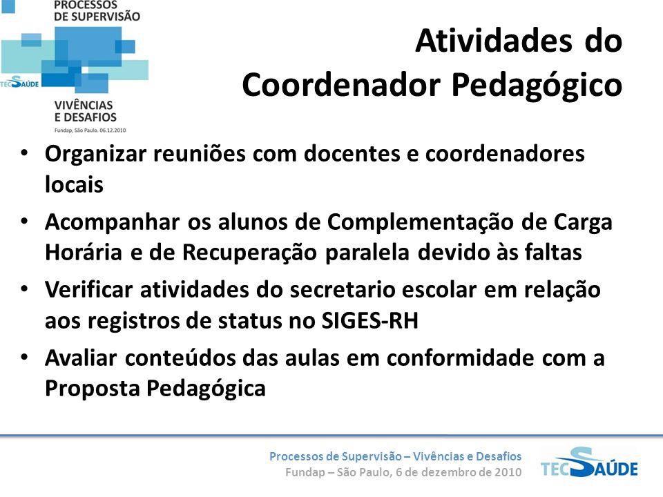 Processos de Supervisão – Vivências e Desafios Fundap – São Paulo, 6 de dezembro de 2010 Organizar reuniões com docentes e coordenadores locais Acompa