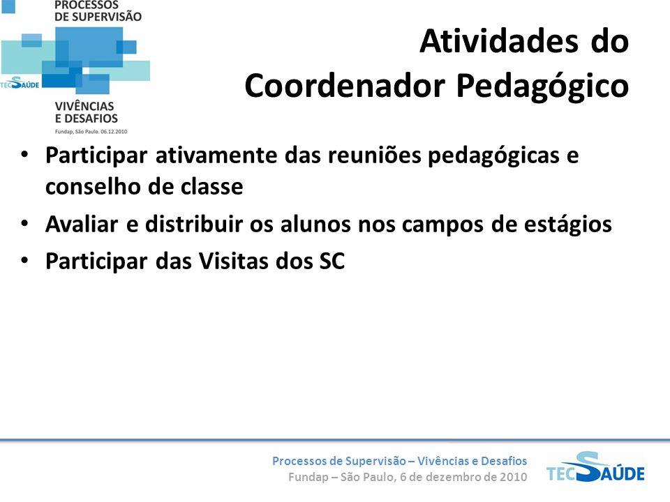 Processos de Supervisão – Vivências e Desafios Fundap – São Paulo, 6 de dezembro de 2010 Participar ativamente das reuniões pedagógicas e conselho de classe Avaliar e distribuir os alunos nos campos de estágios Participar das Visitas dos SC Atividades do Coordenador Pedagógico