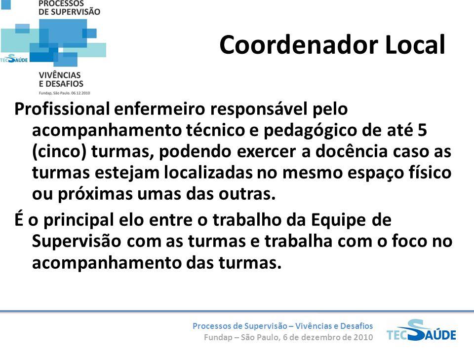 Processos de Supervisão – Vivências e Desafios Fundap – São Paulo, 6 de dezembro de 2010 Coordenador Local Profissional enfermeiro responsável pelo ac
