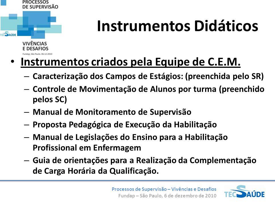Processos de Supervisão – Vivências e Desafios Fundap – São Paulo, 6 de dezembro de 2010 Instrumentos Didáticos Instrumentos criados pela Equipe de C.