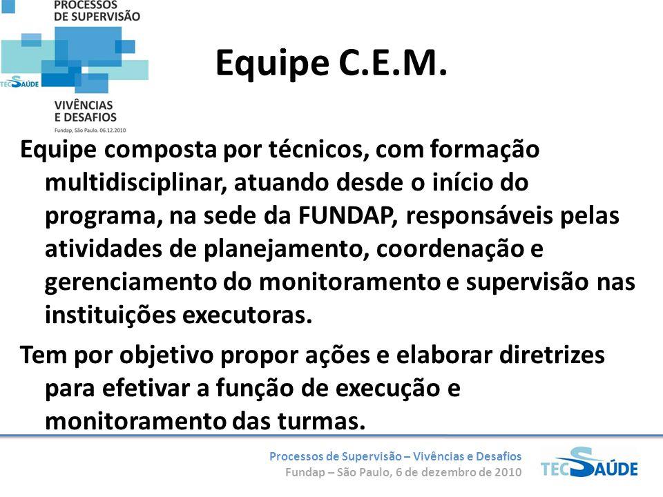 Processos de Supervisão – Vivências e Desafios Fundap – São Paulo, 6 de dezembro de 2010 Equipe C.E.M. Equipe composta por técnicos, com formação mult