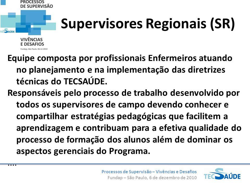 Processos de Supervisão – Vivências e Desafios Fundap – São Paulo, 6 de dezembro de 2010 Supervisores Regionais (SR) Equipe composta por profissionais