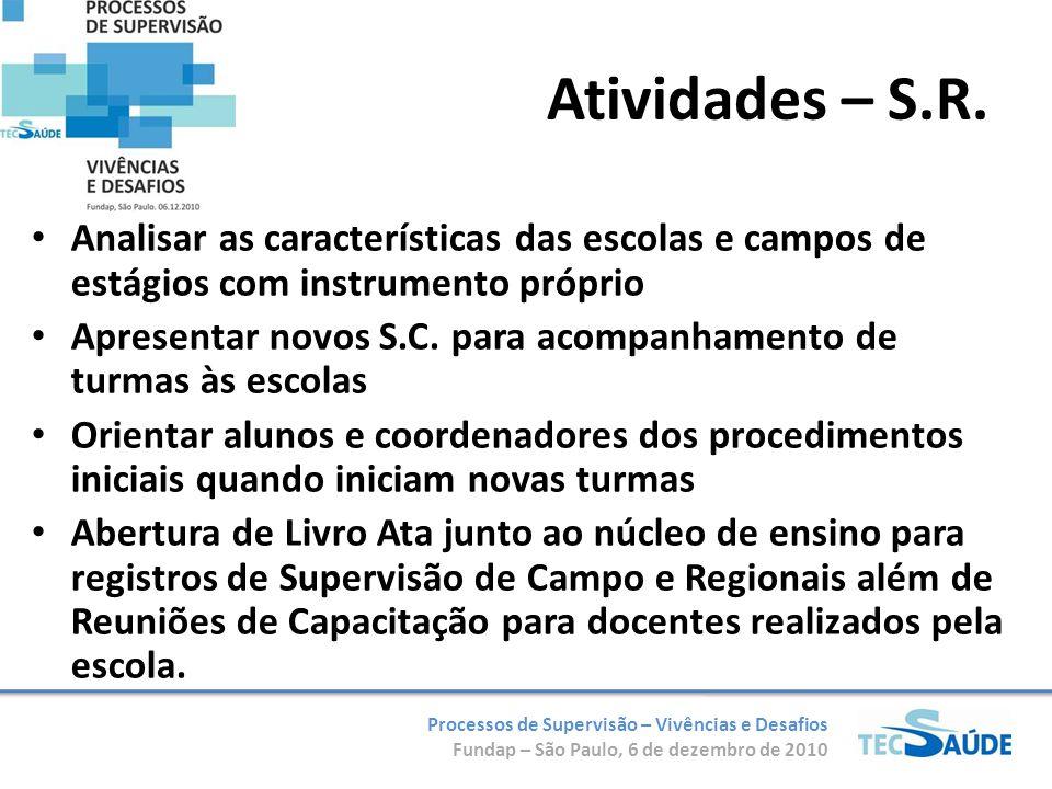 Processos de Supervisão – Vivências e Desafios Fundap – São Paulo, 6 de dezembro de 2010 Analisar as características das escolas e campos de estágios