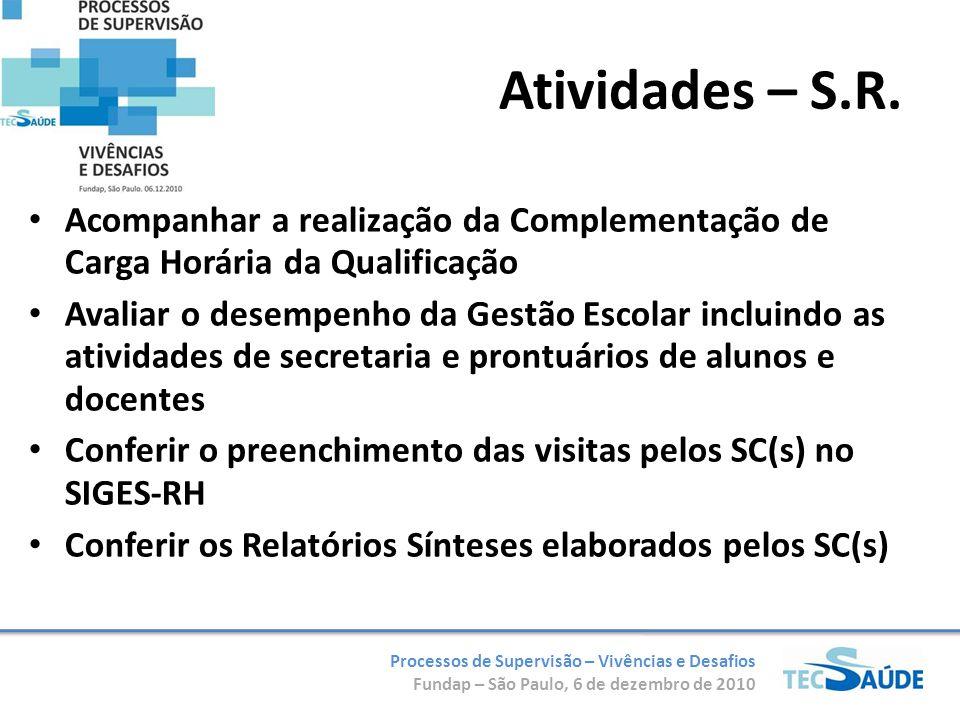 Processos de Supervisão – Vivências e Desafios Fundap – São Paulo, 6 de dezembro de 2010 Elaborar Relatório Síntese Mensal com base nos relatórios dos S.C.