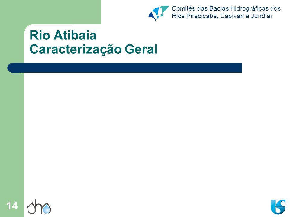 Comitês das Bacias Hidrográficas dos Rios Piracicaba, Capivari e Jundiaí 14 Rio Atibaia Caracterização Geral