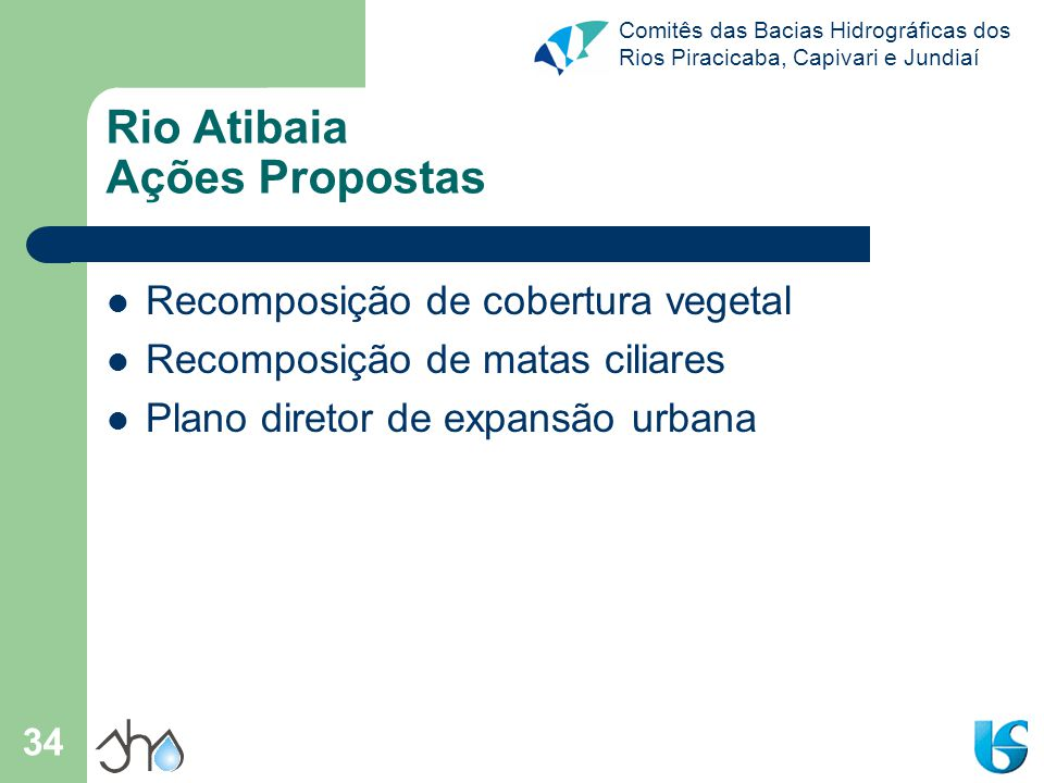 Comitês das Bacias Hidrográficas dos Rios Piracicaba, Capivari e Jundiaí 34 Rio Atibaia Ações Propostas Recomposição de cobertura vegetal Recomposição