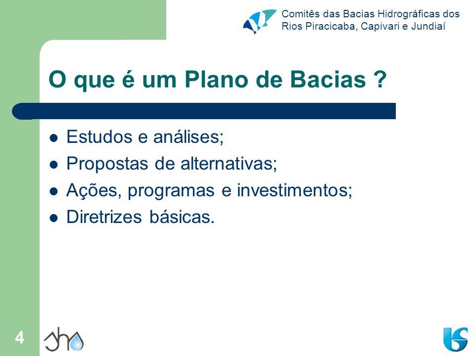 Comitês das Bacias Hidrográficas dos Rios Piracicaba, Capivari e Jundiaí 4 O que é um Plano de Bacias ? Estudos e análises; Propostas de alternativas;