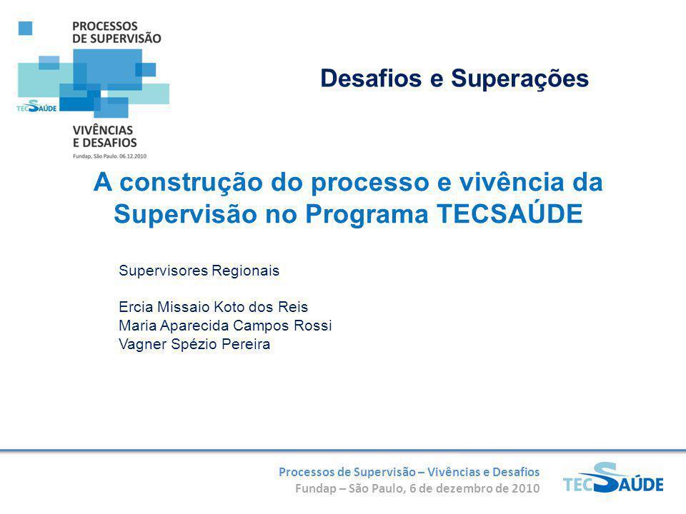 Processos de Supervisão – Vivências e Desafios Fundap – São Paulo, 6 de dezembro de 2010 A construção do processo e vivência da Supervisão no Programa