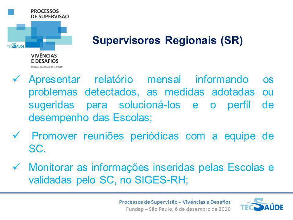 Processos de Supervisão – Vivências e Desafios Fundap – São Paulo, 6 de dezembro de 2010 Apresentar relatório mensal informando os problemas detectado