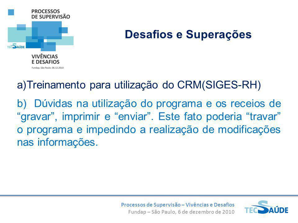 Processos de Supervisão – Vivências e Desafios Fundap – São Paulo, 6 de dezembro de 2010 a)Treinamento para utilização do CRM(SIGES-RH) b) Dúvidas na utilização do programa e os receios de gravar, imprimir e enviar.