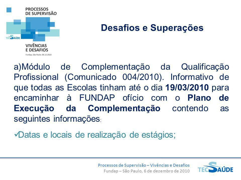 Processos de Supervisão – Vivências e Desafios Fundap – São Paulo, 6 de dezembro de 2010 a)Módulo de Complementação da Qualificação Profissional (Comunicado 004/2010).